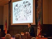 Vitali Konstantinov begeisterte die Marburgerinnen und Marburger im Historischen Rathaussaal mit der Vorstellung seiner Illustrationen für die neue Stadtschrift.