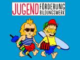 Der Kopfbereich des Ferienpass' 2020, die beiden Ferienpass-Kinder auf blauem Hintergrund©Universitätsstadt Marburg