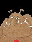 Ein braunes Monster mit spitzen weißen Zähnen.