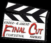 Eine gezeichnete Klappe, wie sie bei Filmaufnahmen eingesetzt wird (oder wurde?), mit dem Schriftzug Final Cut.