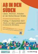 """Flyer """"Ab in den Süden"""" Stadtteilspaziergang 17. Sept. 2021, Seite 1©Universitätsstadt Marburg"""