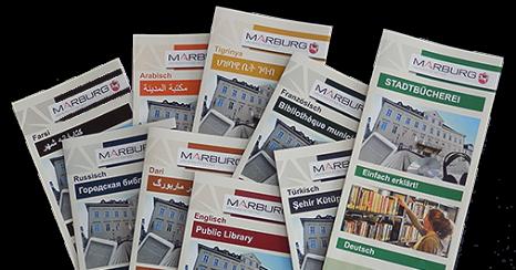 Flyer über die Angebote der Stadtbücherei in verschiedenen Sprachen.©Universitätsstadt Marburg
