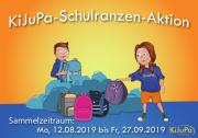 Ein Comic mit 2 Kindern, einigen Schulranzen und der Textinformation KiJuPa-Schulranzen-Aktion , Sammelzeitraum 12.08.-27.09.2019