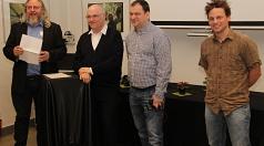 Die Vhs-Fotodozenten (v. l.) Rolf K. Wegst, Andreas Maria Schäfer, Markus Farnung und Jan Bosch stellten sich und ihre Arbeit gegenseitig vor. Mehr als 150 Fotografien sind in den Ausstellungen zu sehen.