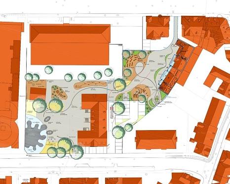 Freiflächenplan - gemeinsamer Schulhof©Universitätsstadt Marburg