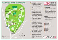 Eine Karte des Freizeitgeländes Stadtwald und die Auflistung der Häuser, Spiel- und Sportplätze etc.©Universitätsstadt Marburg
