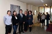 """Bürgermeister Dr. Franz Kahle (Mitte) eröffnete die Ausstellung in der """"Galerie 36"""". Gezeigt werden Arbeiten von Anna-Lena Dehmel (2. von links) und Randi Grundke (2. von rechts) Eine Einführung in die Werke gaben Alexey Zemlyanov (l.) und Halise Ruken Ad"""