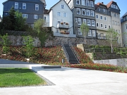 Blick von der weißen Betonskulptur auf die Rosenblüte im Sommer, zum Aufstieg Untergasse