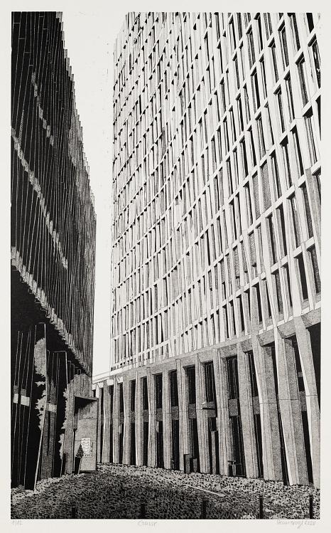 """Abbildung Linolschnitt """"Gasse"""" aus dem Jahr 2020 von Philipp Hennevogl, Weg zwischen zwei hohen Gebäuden©Philipp Hennevogl"""