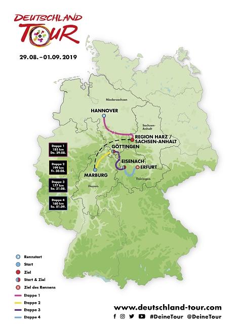 Gesamtansicht Strecke Deutschland Tour 2019©Deutschland Tour