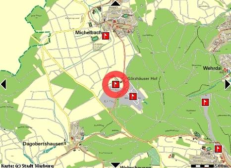 Gewerbe- und Industriegebiet Görzhäuser Hof II, Karte©Universitätsstadt Marburg