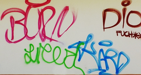 Das Foto zeigt verschiedene Graffiti an einer Hauswand.©DBM, Sonja Stender