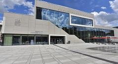 Graphische Gesamtdarstellung der neuen Stadthalle, dem Erwin-Piscator-Haus