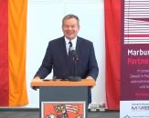 """Grußwort des Oberbürgermeisters Dr. Thomas Spies bei der internationalen digitalen Fachtagung """"Marburg ohne Partnergewalt""""©Universitätsstadt Marburg"""