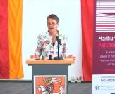 """Grußwort der Landrätin Kirsten Fründt bei der internationalen digitalen Fachtagung """"Marburg ohne Partnergewalt""""©Universitätsstadt Marburg"""