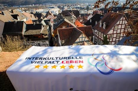 """Banner mit Blick auf Marburg - Gütesiegel """"Interkulturelle Vielfalt LEBEN""""©Patricia Grähling, Stadt Marburg"""