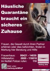 Motiv mit Notrufnummern für betroffene Frauen aus er Kampagne des Projekts Marburg ohne Partnergewalt©Universitätsstadt Marburg