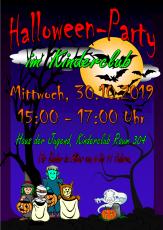 Ein Plakat mit Geistern, Fledermäusen und weiterem Gruselkram vor dunklem Himmel©Universitätsstadt Marburg