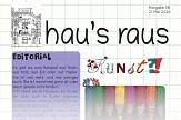 Kunst und Buntstifte gibt es auf diesem Bild zu sehen, der einen Ausriss der Titelseite des Newsletters hau's raus Nummer 8 wiedergibt.©Universitätsstadt Marburg