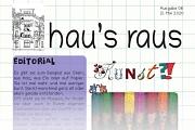 Kunst und Buntstifte gibt es auf diesem Bild zu sehen, der einen Ausriss der Titelseite des Newsletters hau's raus Nummer 8 wiedergibt.