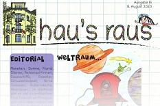 Ein Ausriss der Titelseite von hau's raus Nummer 15, Schwerpunkt Weltraum.©Universitätsstadt Marburg