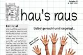 Die Titelseite von hau's raus Nummer 3. Neben dem Header sieht man eine Hand, deren Fingerenden wieder Hände sind - muss wohl eine Fotomontage sein.©Universitätsstadt Marburg