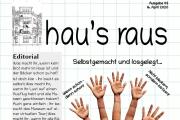 Die Titelseite von hau's raus Nummer 3. Neben dem Header sieht man eine Hand, deren Fingerenden wieder Hände sind - muss wohl eine Fotomontage sein.