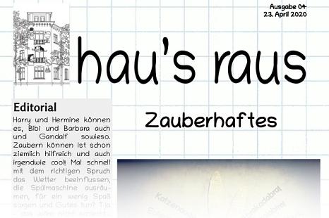 Ein Ausriss der Titelseite des Newsletters hau's raus der Jugendförderung, Ausgabe Nummer 4©Universitätsstadt Marburg