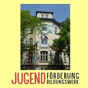 Unter dem Foto des Haus der Jugend das Logo von Jugendförderung und Jugendbildungswerk.