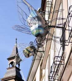 Markt 7 mit den 7 Fliegen des Grimm-Dich-Pfades - hinter diesen Mauer ist der Fachdienst Kultur zu Hause©Universitätsstadt Marburg