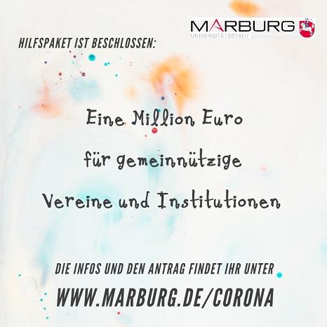 Die Stadt stellt in der Corona-Krise ein Millionenpaket für gemeinnützige Vereine und Institutionen bereit.©Universitätsstadt Marburg