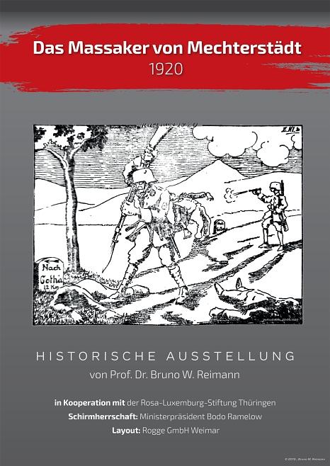 """Im Kontext des Kapp-Putsches beleuchtet die Wanderausstellung die Erschießung von 15 Arbeitern in Mechterstädt (Thüringen) durch Mitglieder des """"Studentenkorps Marburg"""" im März 1920.©Bruno W. Reimann"""
