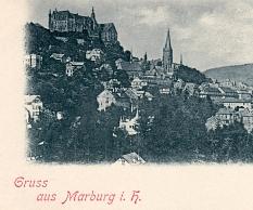 Marburg i.H., also in Hessen, ist diese historische Postkarte bezeichnet.©Fachdienst 13 (Archiv)