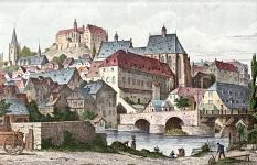 Historische Zeichnung, Blick auf die Altstadt mit Dominikanerkloster und Herrenmühle©G.G. Lange