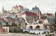 Historische Zeichnung, Blick auf die Altstadt mit Dominikanerkloster und Herrenmühle