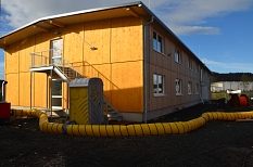 Bald können die Bewohnerinnen und Bewohner des Cappeler Camps in sechs winterfeste Unterkünfte umziehen.©Tina Eppler, Universitätsstadt Marburg