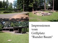 """mehrere Ansichten vom Grillplatz """"Runder Baum""""©Universitätsstadt Marburg"""