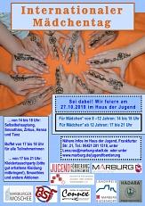 Der Flyer zum internationalen Mädchentag 2019 im Haus der Jugend.©Universitätsstadt Marburg
