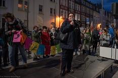 Stadträtin Kirsten Dinnebier eröffnete bei der Kundgebung zum Weltfrauentag die Internationalen Wochen gegen Rassismus.©Melanie Weiershäuer i. A. der Stadt Marburg