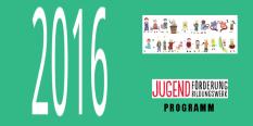 Die Zahl 2016 mit zahlreichen Comicfiguren, die die Vielfalt der Angebote von Jugendbildungswerk und Jugendförderung repräsentieren. Außerdem das Logo von Jugendförderung und Jugendbildungswerk.©Universitätsstadt Marburg