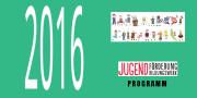 Die Zahl 2016 mit zahlreichen Comicfiguren, die die Vielfalt der Angebote von Jugendbildungswerk und Jugendförderung repräsentieren. Außerdem das Logo von Jugendförderung und Jugendbildungswerk.
