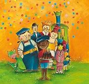 Jim Knopf hält einen Geburtstagskuchen und seine Freunde stehen fröhlich hinter ihm.