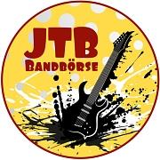 Das Logo zur Bandbörse Marburg Join the Band, aus einem gelben Kreis ragt eine Gitarre, darüber der Schriftzug.