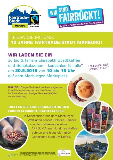 Jubiläumsevent: 10 Jahre Fairtrade Stadt Marburg am 20.09.2019 von 10Uhr bis 16Uhr auf dem Marburger Marktplatz©Universitätsstadt Marburg