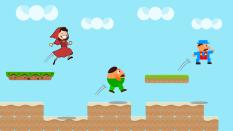 Eine Szene aus einem JumpAndRun-Computerspiel, vermutlich frei erfunden.©qubodup via opnclipart.org