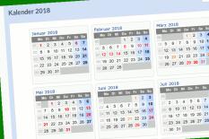Ein Ausriss aus dem Kalender 2018, nur einige Monate sind in der Übersicht zu sehen.©Universitätsstadt Marburg Montage mit Screenshot von http://schulferien.org