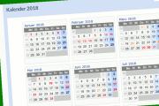 Ein Ausriss aus dem Kalender 2018, nur einige Monate sind in der Übersicht zu sehen.