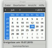 """Ein einfacher tabellarischer Kalender mit dem Monat Juli des Jahres 2019 (Screenshot des Kalenderprogramms """"Orage"""" aus der Desktopumgebung XFCE für Linux (https://www.xfce.org))"""
