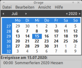 """Ein Screenshot von einem Kalender und dem Monat Juli 2020, als """"Ereignisse"""" sind die Sommerferien genannt.©Universitätsstadt Marburg"""