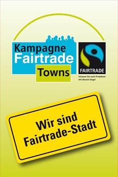 Logo der Kampagne Fairtrade Towns mit dem Untertitel: Wir sind Fairtrade Stadt©Universitätsstadt MarburgFD Umwelt, Fairer Handel und Abfallwirtschaft